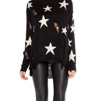 Destroyed Star Knit Sweater - 2020AVE