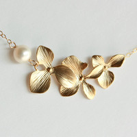 Gold orchid necklace, Flower and pearl necklace, Wedding jewelry, Bridesmaid gift, Flower girl, Mother of bride, Gold flower necklace