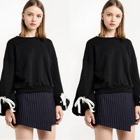 Hot Popular Women Casual Long Sleeve Round Necked Strappy Solid Sweatshirt Jumper Shirt Top Blouse _ 10216