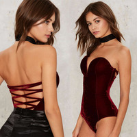 Stripe Velet Sexy Backless One-piece Bra [9694834959]