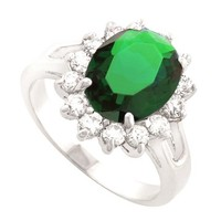 JanKuo Jewelry Diana Inspired Emerald Color Engagement Ring Includes Gift Box