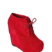 Red Suede Wedge Bootie