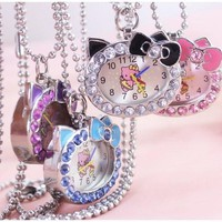 2018 New hot fashion Cat Face with Pink Diamond Hello Kitty Pocket Watch for gift
