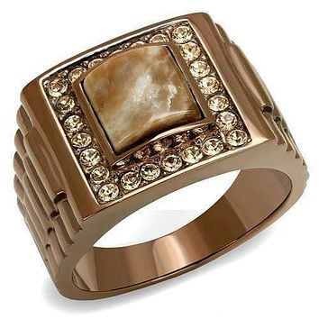 Mens Rings TK3190 Coffee light Stainless Steel Ring with Semi-Precious