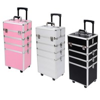 4 in 1 Makeup Nail Case Vanity Hairdressing Cosmetics Beauty Case Box Trolley