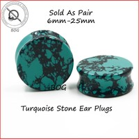 BOG- Pair Nature  Stone Double Flared Plug Saddle Ear Flesh Tunnels Gauge Expander Tapers Body Piercing Jewelry