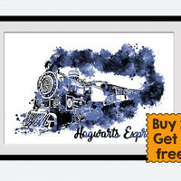 Harry Potter Hogwarts express watercolor print Harry Potter art poster Hogwarts express blue decor Home decoration Child room wall art W696