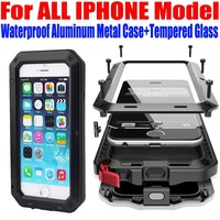 Case For IPHONE 7 Plus 6S PLUS SE 5S 5G 4S Heavy Duty Shock Drop Waterproof Aluminum Metal Phone Cover + Tempered glass IP653