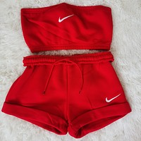NIKE women new fashion printing casual sports two-piece suit Red