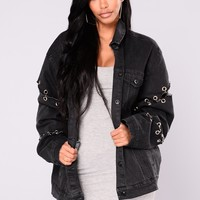 One I Want Denim Jacket  - Black