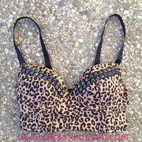 ITEM SHIPS 1/21/2013 - Studded Bustier Bra Top Leopard Print Silver- Gold- or - Black Studs
