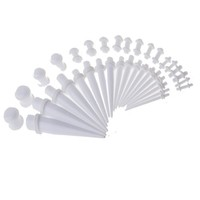 Gauge Kit 36 Pieces White Acrylic Tapers & Glow-in-the-Dark Plugs 14G 12G 10G 8G 6G 4G 2G 0G 00G
