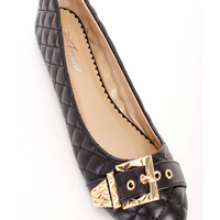 Black Quilted Buckles Cute Casual Flats Faux Leather