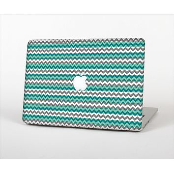 "The Vintage Green & White Chevron Pattern V4 Skin Set for the Apple MacBook Pro 13"" with Retina Display"