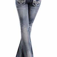 Rock & Roll Cowgirl Womens Low Rise Boot Cut Jeans with Sequin Pockets