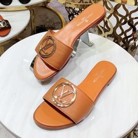 Louis vuitton sells casual ladies gold button leather sandals and slippers in solid colors