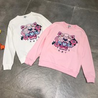 """Kenzo"" Fashion Flower Letter Tiger Head Pattern Embroidery Long Sleeve Sweater Women Casual Tops"