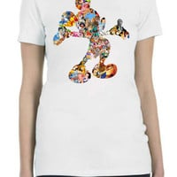 Disney Multi Character Design Shirt in Mickey Mouse Outline Filled With Most of The Disney Characters...FREE SHIPPING!!