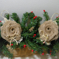 Ready to Ship! Set of 2 Burlap Rose Bow Christmas Ornaments handmade of garden burlap, babies breath & twine. Ships within 24 hours!