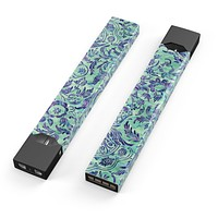 Blue and Green Damask Watercolor Pattern - Premium Decal Protective Skin-Wrap Sticker compatible with the Juul Labs vaping device