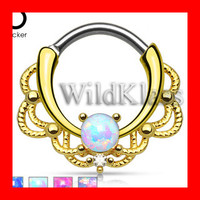16g 14g Gold Septum Clicker Lacey Single Opal Earring Jewelry Septum Clicker Cartilage Piercing Tragus Ring Helix Conch Nose Belly Nipple