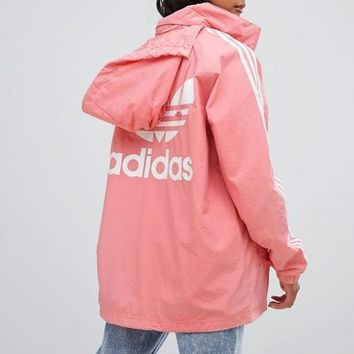 Adidas Originals Three Stripe Hooded Jacket In Pink
