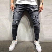 Men Fashion Patched Ripped Skinny Jeans