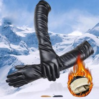 Winter Spring Ladies Gloves Women Long PU Leather Elbow Dress Gloves For Women Warm Cashmere Gloves Guantes Mujer