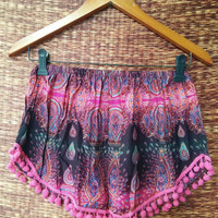 Pink pom pom Shorts Paisleys Styles Comfy fabric Clothing for Festival Summer holiday women fashion Comfy Cute beach clothes gift for her
