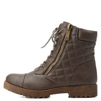 Taupe Bamboo Quilted Combat Booties by Bamboo at Charlotte Russe