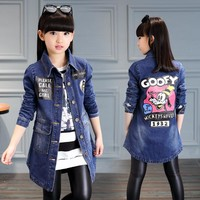 Trendy Fashion Coat 2018 Big Girl Clothes Spring Autumn Button Solid Jackets Female Children Cartoon Clothing Kids Denim Overcoat AT_94_13