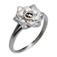 Me&Ro Jewelry -   Lotus Flower Ring with Brown IDI