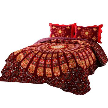 Svetanya Bohemia Bedspread mandala print 3pcs Coverlet set Blanket 230x230cm Bedsheet Plaid Red Wedding