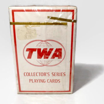 Vintage Playing Cards, TWA Airlines Bridge Size Cards, Aviation Collectible, Mid Century Air Travel,