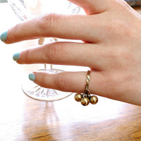 Antique Ball Charm Ring, 14k Yellow Gold Dangle Bells, Twist Motif Band, Interesting Bohemian Statement Stacking Accent Ring