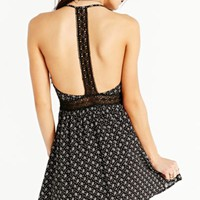 Lucca Couture Floral Lace T-Strap Dress- Black + White