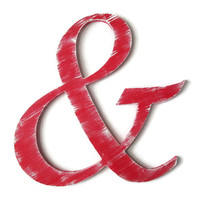 Ampersand 'And' Symbol photo booth prop, shabby red with white for chic rustic wedding decor, ready to ship