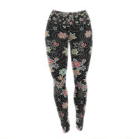 "Julia Grifol ""My Small Flowers"" Black Floral Yoga Leggings"