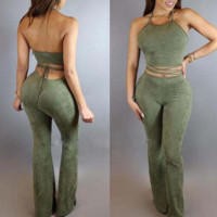 Women 's large bell - bottoms suit