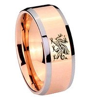 8mm Dragon Beveled Edges Rose Gold Tungsten Carbide Mens Engagement Band