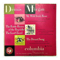 "Alex Steinweiss record album design, 1950. "" Dennis Morgan: My Wild Irish Rose (and Other Songs)"" LP"