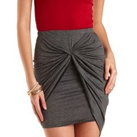 Twisted Knot High-Low Tulip Skirt by Charlotte Russe - Gray