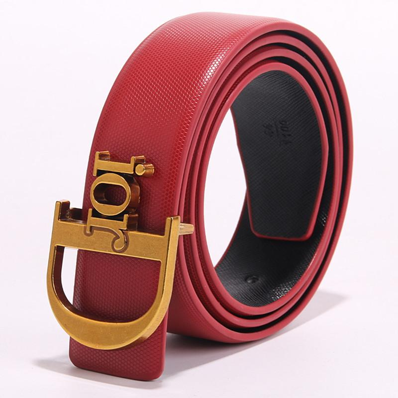 Image of Dior Tide brand simple retro men and women smooth buckle belt red