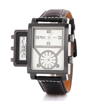 Mens Adventurer Digital Leather Strap Wrist Watches Boys Outdoor Sports Tourism Watch Best Christmas Gift