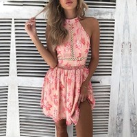 Bohemian pink floral print dress Women sexy backless beach boho dress Halter high waist chiffon short dress