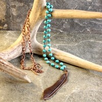Turquoise and Copper Feather Necklace - Jewelry - Women's Accessories - Women's