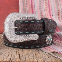 Nocona Marlow Turquoise Stitched Belt - Belts - Women's Accessories - Women's