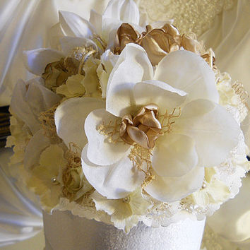 """8"""" Vintage Style Wedding Cake Topper with matching flowers. Vintage lace, burlap, satins, fabrics and sheers."""