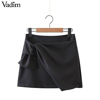 Women elegant bow tie black blue skirts solid summer casual slim fit ladies fashion streetwear mini skirts BSQ510