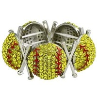 *[B/L]-Rhinestone Softball Stretch Bracelet